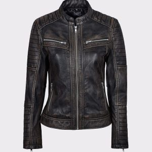 Black Rub Off Biker Style Real Lambskin Leather Jacket