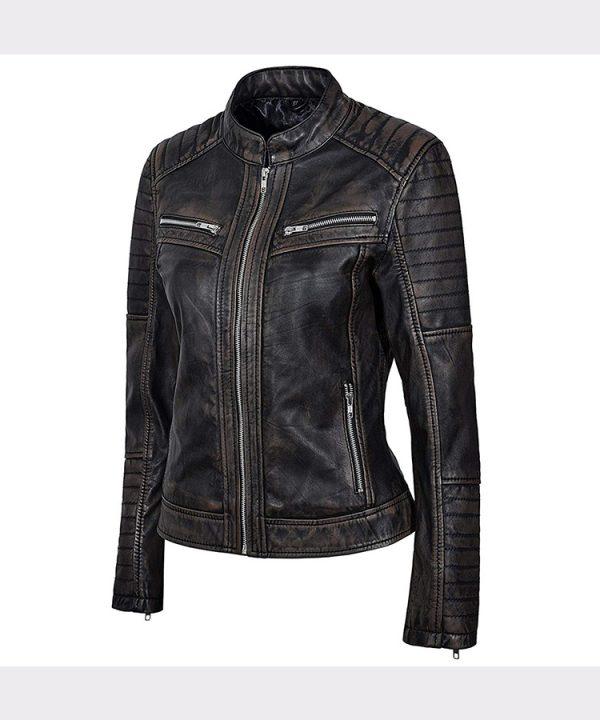 Black Rub Off Biker Style Real Lambskin Leather Jacket