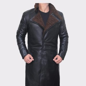 Black Shearling Leather Trench Coat Mens