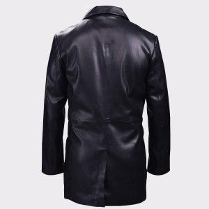 Classic Black Leather Blazer Mens Coat