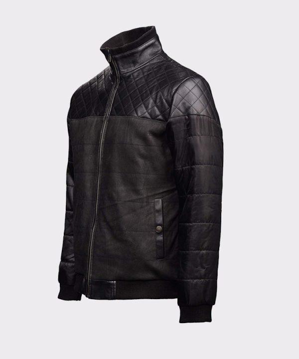Fashion Black Bomber Leather Jacket