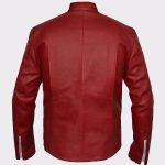 Flash Logo Superhero Cosplay Costume Red Sheep Leather Jacket