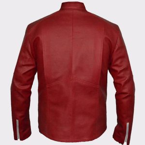Flash Logo Superhero Cosplay Costume Red Sheep Leather Jacket