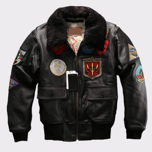 Fur Collar Genuine Leather Jacket Men cowskin Coat Pilot Suit Bomber Jacket