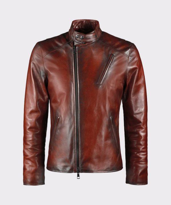 Iron Man Tony Stark Style Men Brown Genuine Leather Jacket