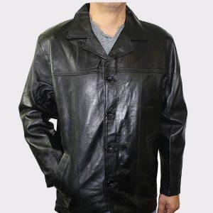 Men Genuine Leather Long car Coat Jacket
