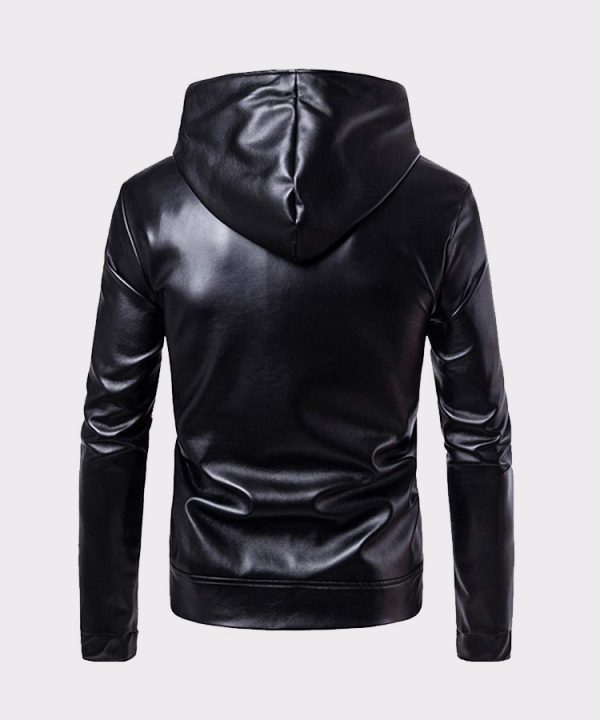 Men Leather Jacket Autumn & Winter Biker Motorcycle Zipper Outwear Warm Coat
