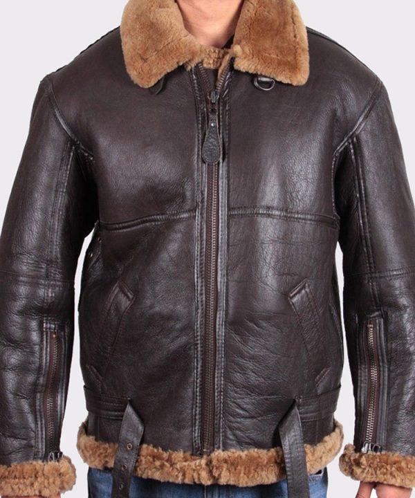 Mens Aviator Leather Jacket Bomber Flying Jacket