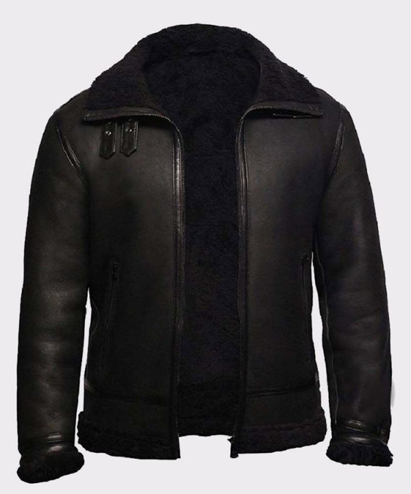 Men's Aviator RAF B3 Black Top Quality Leather Bomber Flying Jacket