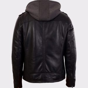 Mens Black Bomber Lambskin Real Leather Jacket with Hood