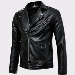Men's Classic Police Style Real Leather Motorcycle Jacket