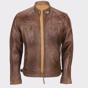 Men's Franco Distressed Brown Genuine Lambskin Leather Jacket