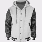 Men's Hoodie Faux Leather Cotton Baseball Varsity Jacket Gray