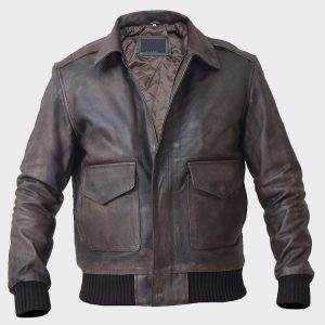 Men's Bomber A-2 Aviator Pilot Police Military Real Leather Jacket