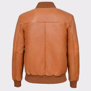 Men's Tan Plain Napa wax leather Biker Jacket