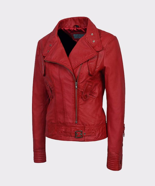 New 'Supermodel' Ladies Red Rock Biker Style leather jacket