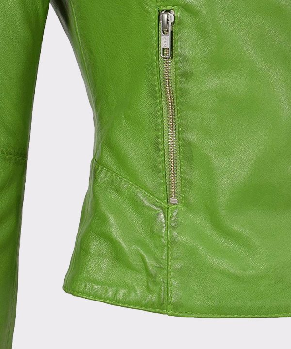 Real Leather Collarless Jacket for Women