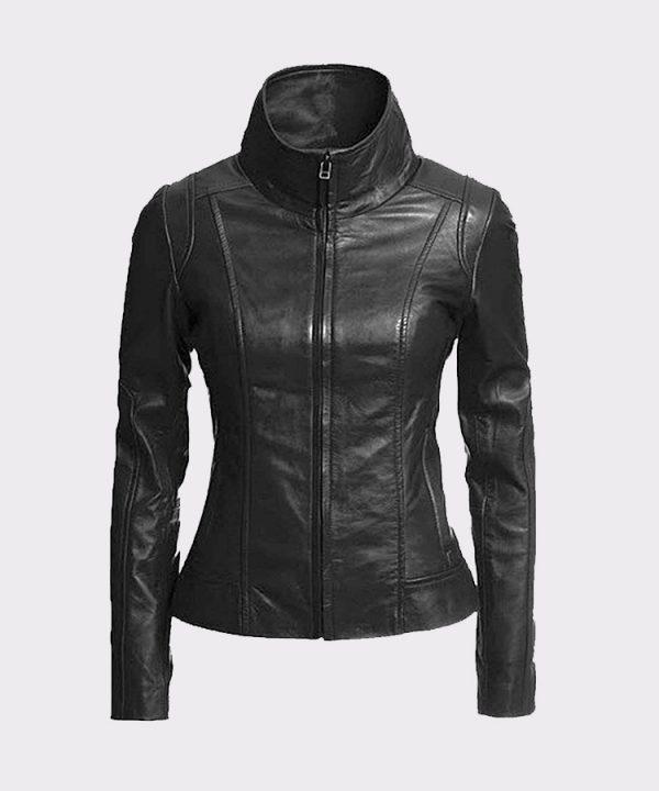 Vintage Women's Slim Biker Motorcycle Real Leather Zipper Jacket