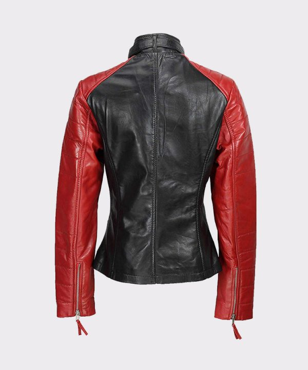 Womens Black Red Vintage Soft Genuine Leather Biker Style Jacket