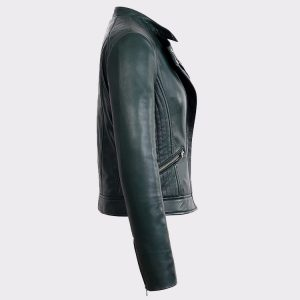 Womens Green Quilted Shoulder Moto Fashion Lambskin Real Leather Jacket