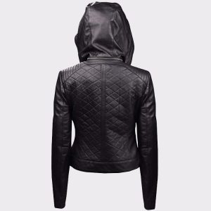 Womens Leather Quilted Motorcycle Jacket with Hoodie Black-Removable Hood