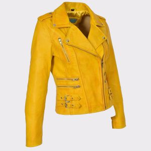 Womens Yellow Leather Jackets Motorcycle Bomber Biker