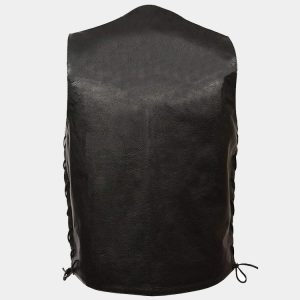 BLACK-Men's concealed carry single back panel classic biker leather vest
