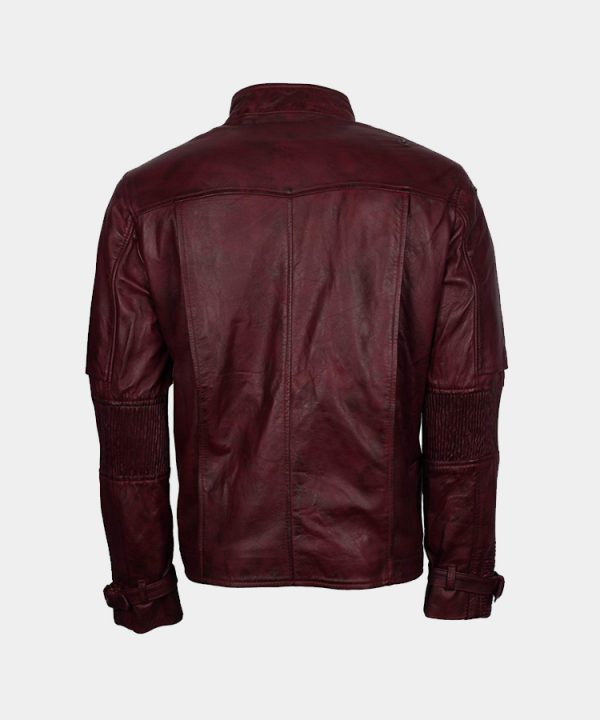 Galaxy Maroon Waxed Star the Lord Mens Leather Guardians Jacket Costume