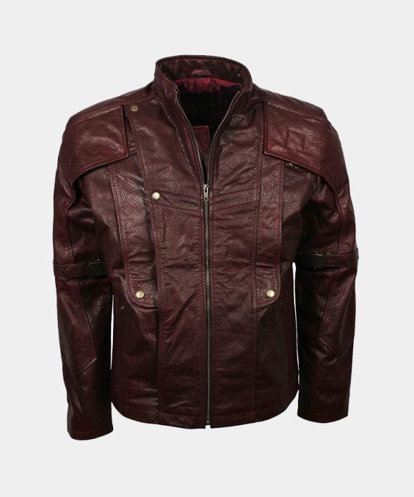 Guardians Maroon Cosplay Costume Galaxy Star Leather Lord Jacket