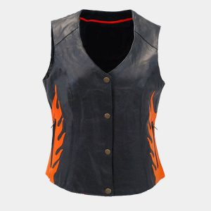 ORANGE PREMIUM WOMEN LEATHER VESTS