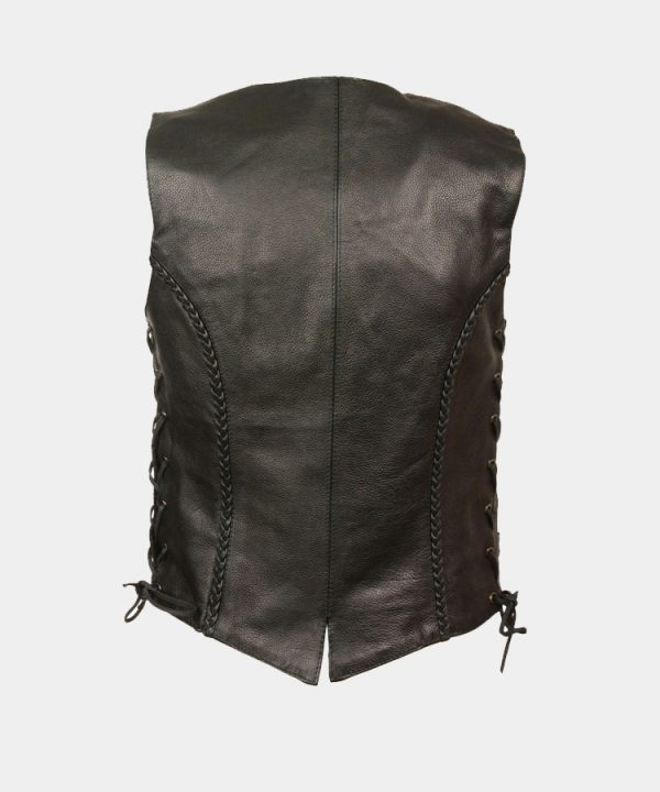 Leather Women's Braided Side Lace Vest