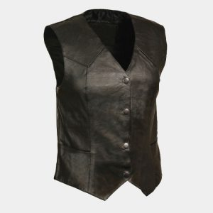 Leather Women's Classic Four Snap Vest