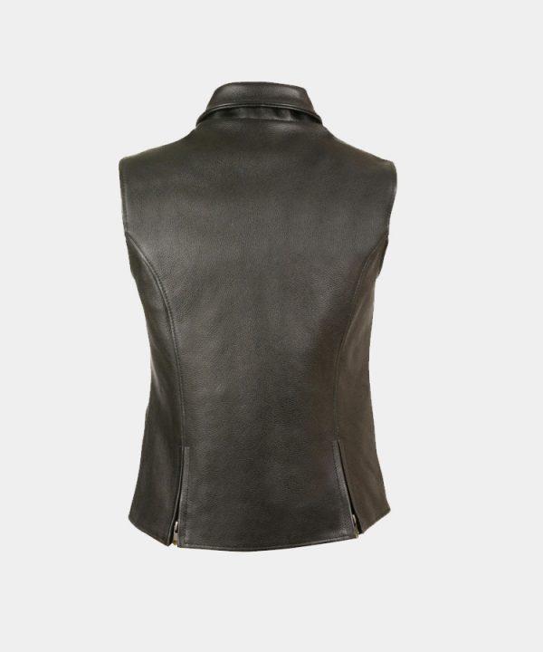 Leather Women's Extra Long Zipper Front Vest