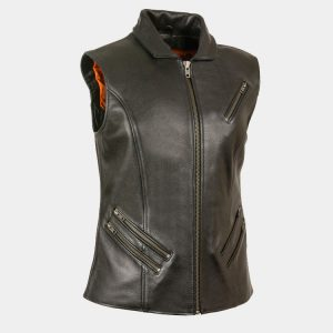 Leather Women's Extra Long Zipper Front Vest