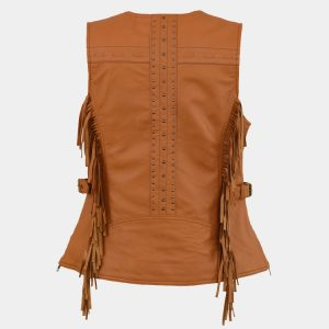 Leather Women's Saddle Tan Fringe Snap Front Vest