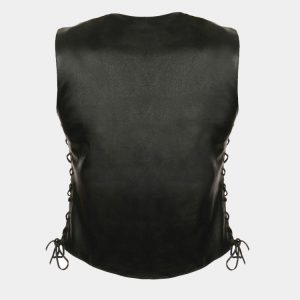 Leather Women's Side Lace Snap Front Vest
