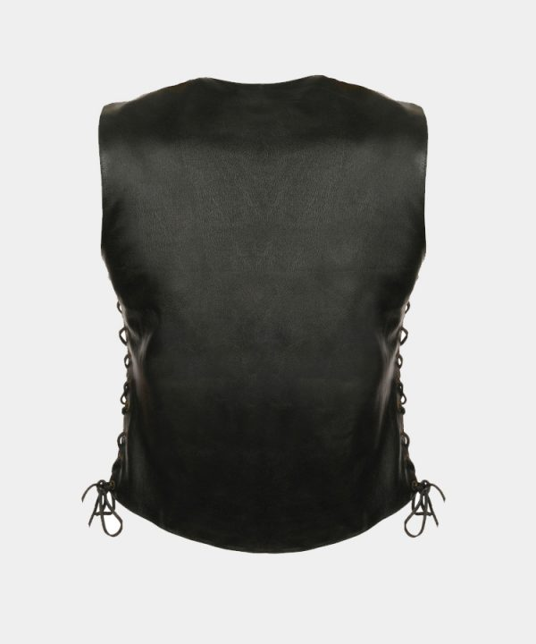 Leather Women's Side Lace Snap Front Vest