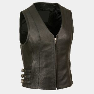Leather Women's V Neck Zipper Front Side Buckle Vest