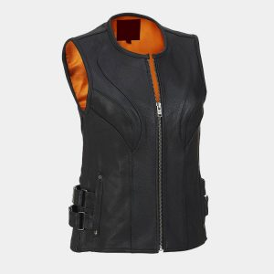 BLACK WOMEN LEATHER VESTS