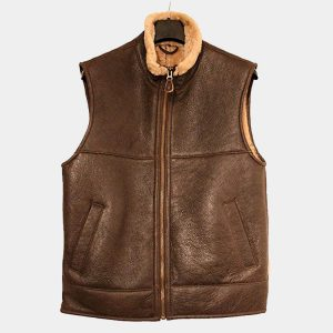 Men's Aviator Raf B3 Fur Leather Bomber Flying Vest