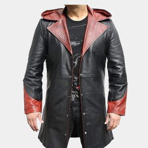 Men Superhero Stylish Black with Red Real Leather Coat
