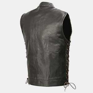 Mens Leather Club Style Vest Brown Side Lace, Concealed Gun Pockets