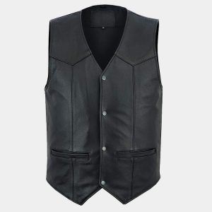 Men's Motorbike Club Style Classic Genuine Leather Vest