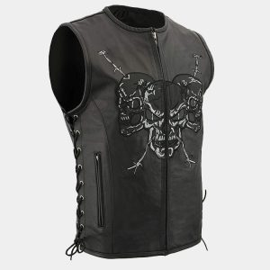Men's Zipper Front Side Lace Leather Vest w-Reflective Skulls