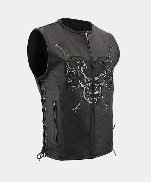 Men's Zipper Front Side Lace Leather Vest w-Reflective Skulls