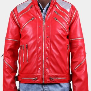 Michael Jackson Costume Beat It Metal Zipper Leather Jacket