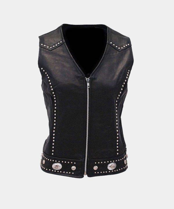 Mini Stud & Concho Zip Vest for Woman