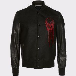 Soft Lambskin and Cotton Doeskin Embroidered Varsity Jacket