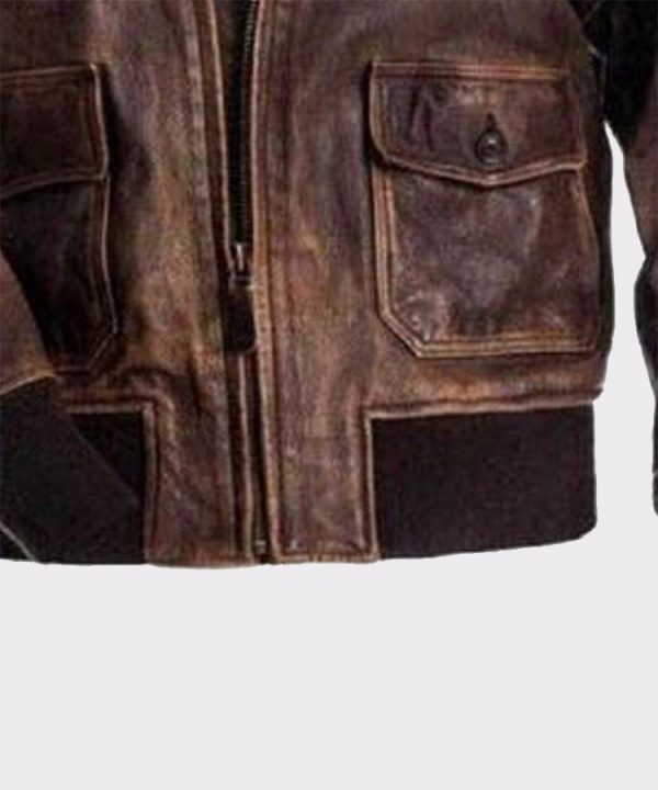 A2 Navy Flight Men Distressed Genuine Brown Leather jacket