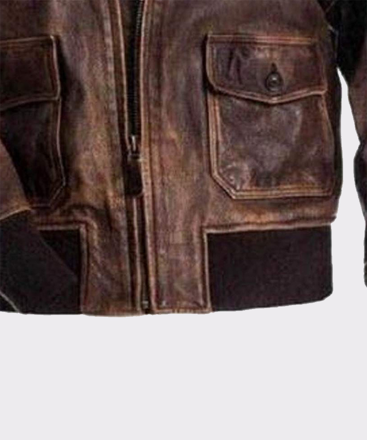 G-1 Aviator Flight Men/'s Distressed Bomber Brown With Fur Collar Leather Jacket